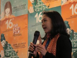 Aom presenting at the Udine Film Festival