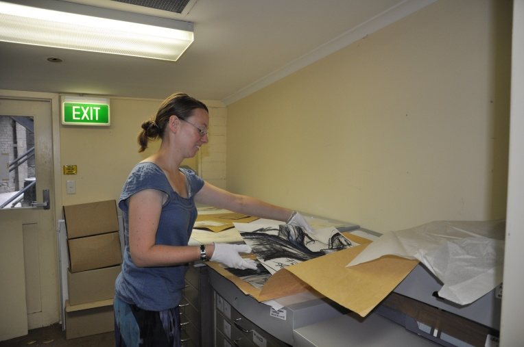 Claire working in the RMIT Design Archives