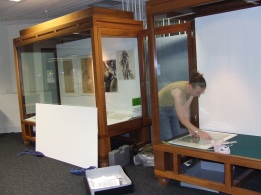 Claire installing work in the RMIT library