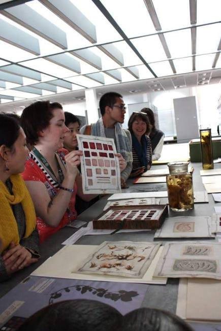 Aom with artists on a visit to Herbarium, Scotland
