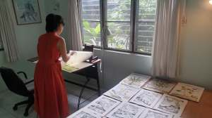 Rui Matsunaga working at Studio 88 Artist Residency, Chiang Mai