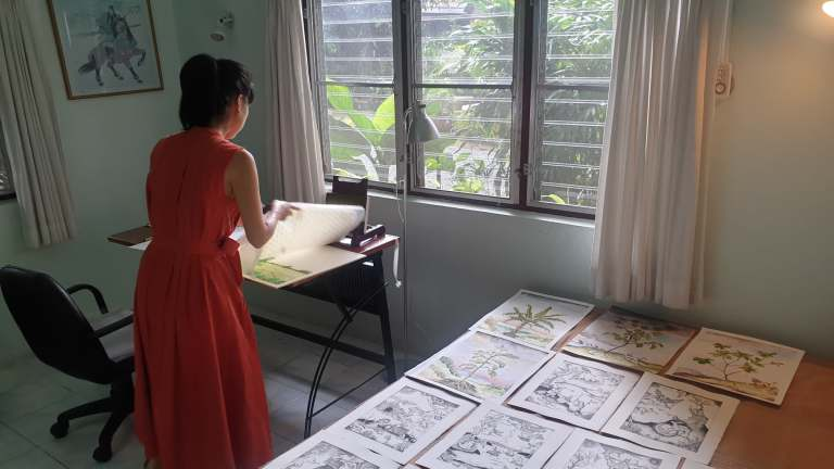 Rui Matsunaga working at Studio 88 Artist Residency, Chiang Mai